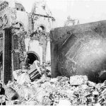 An after-picture of the Urakami Tenshudo (Catholic Church) in Nagasaki, which was destroyed in 1946 by the fission of about one kilogram of plutonium. Credit: Public domain image accessed via Wikimedia Commons.