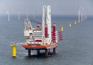 jackup barge installing offshore windmill components