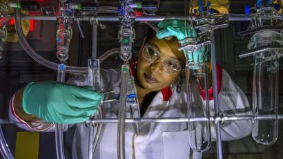 Applying radiochemistry to nuclear energy and medicine. Jasmine Hatcher's work in Brookhaven's Medical Isotope Research and Production Program focuses on extracting Actinium-225, a rare radioactive element that can be used in cancer radiation therapy. Photo accessed via Flickr. CC BY-NC-ND 2.0.