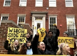 GWU students protesting against climate change
