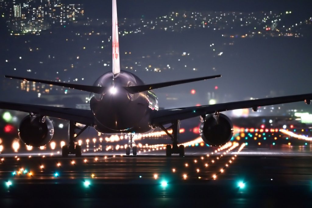 plane about to take off at night