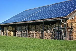 solar roof and firewood