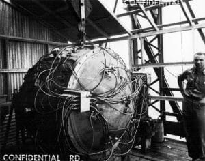 Gadget, the plutonium-powered nuclear bomb used in the Trinity test, July 16, 1945. Photo accessed via Flickr under CC BY 2.0 license.