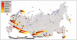 FIGURE 1. Hypothetical US 1,289-warhead attack on Russia's nuclear forces and associated facilities in 2001, the most recent such analysis published. The largest plumes of radioactive fallout are from ICBM silo fields (two US warheads ground burst on each silo). Smaller plumes are from attacks on submarine and mobile-missile bases, bomber bases, and nuclear-warhead storage facilities. The dots without fallout plumes are associated with airbursts over nuclear-weapon production sites, command headquarters, and key communication links. A median lethal dose of 450 radiation equivalent in man (rem) was assumed. The higher unshielded doses would be relevant for people able to shelter for two days or more. Credit: Matthew McKinzie, Natural Resources Defense Council. Used with permission.