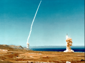 Launch of two Minuteman III ICBMs from Vandenburg Air Force Base, California 10 July 1979, part the Strategic Air Command's massive Global Shield '79 exercise. Public domain image.