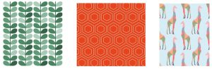 These wallpaper patterns are examples of symmetric designs that repeat in predictable ways. Karen Arnold. Public domain.
