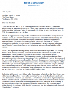 Page 1 of Sens. Patrick Leahy, Edward Markey, Jeffery Merkley, and Martin Heinrich letter to President Biden asking to clear Oppenheimer's name.
