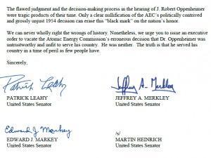 Page 2 of Sens. Patrick Leahy, Edward Markey, Jeffery Merkley, and Martin Heinrich letter to President Biden asking to clear Oppenheimer's name.