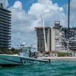 view from ocean of condo collapse in Florida