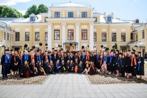 """Smolny College Commencement, 2019. Smolny College—the first liberal arts program in Russia—was founded as a dual-degree program between Bard College in the United States and St. Petersburg University in Russia. Last month, the Russian State Prosecutor's Office labeled Bard College """"undesirable,"""" which criminalized Bard's decades-long partnership with St. Petersburg University. Photo credit: Bard College. Used with permission."""
