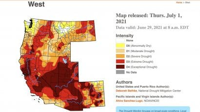 drought map of American West July 1 2021