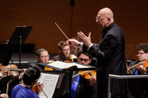 """Leon Botstein conducting. """"My engagement as a person with Russian literature, music, and history is based in my earliest childhood. … Even in the depths of the Cold War, intellectual and cultural exchange continued,"""" Botstein told the Bulletin of the Atomic Scientists. Photo credit: David DeNee. Used with permission."""