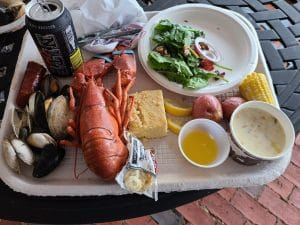 lobster dinner at Marine Biological Laboratory in Woods Hole