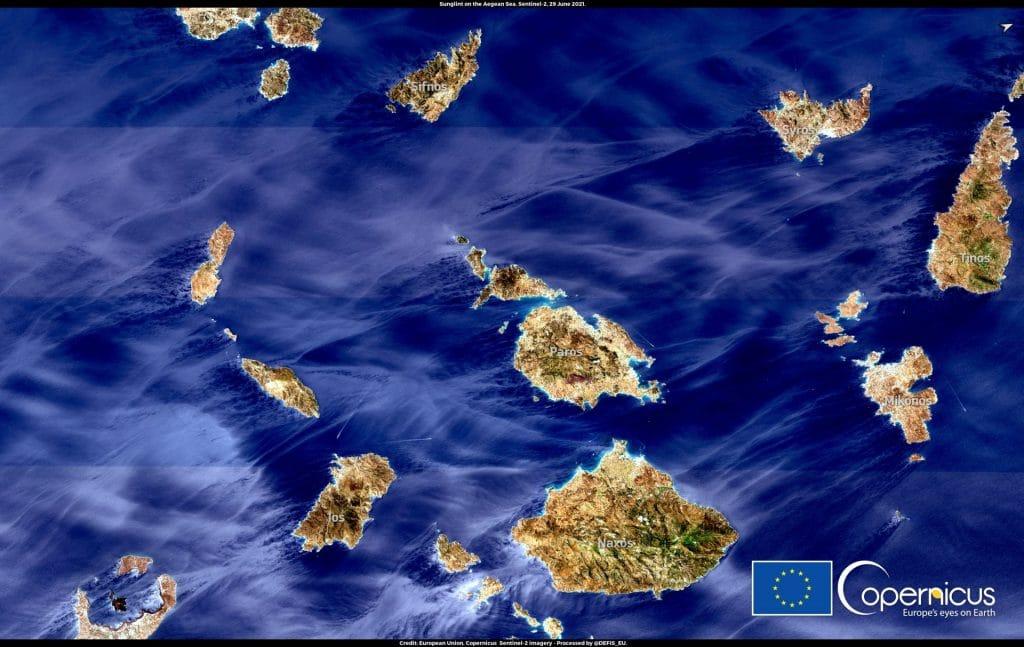 satellite view Aegean Sea