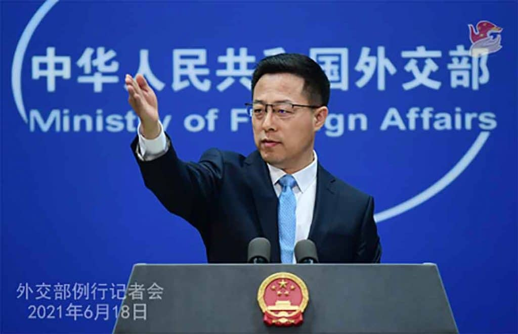 Chinese Ministry of Foreign Affairs spokesman Zhao LIjian.