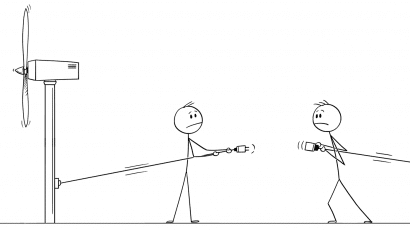 cartoon of two people failing to connect windmill and power grid wires