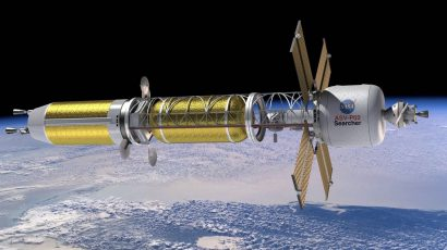 Illustration of a conceptual spacecraft enabled by nuclear thermal propulsion. Credit: NASA