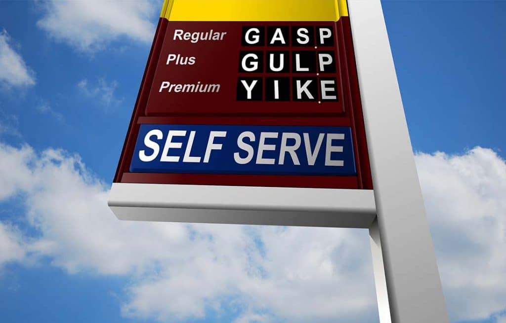 oil company sign satire