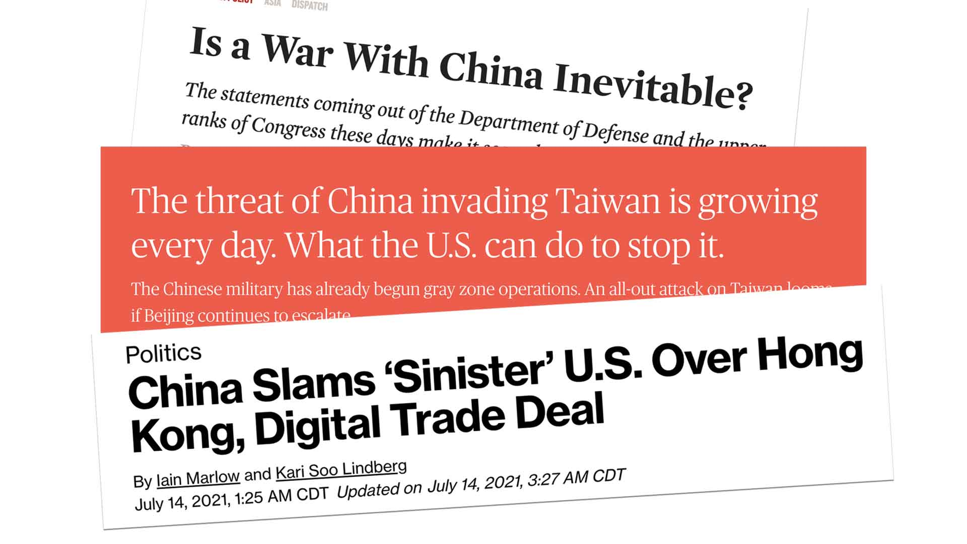 Alarming headlines about US-China relations.