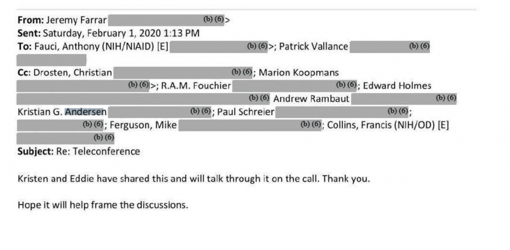 A Jeremy Farrar email about the teleconference.