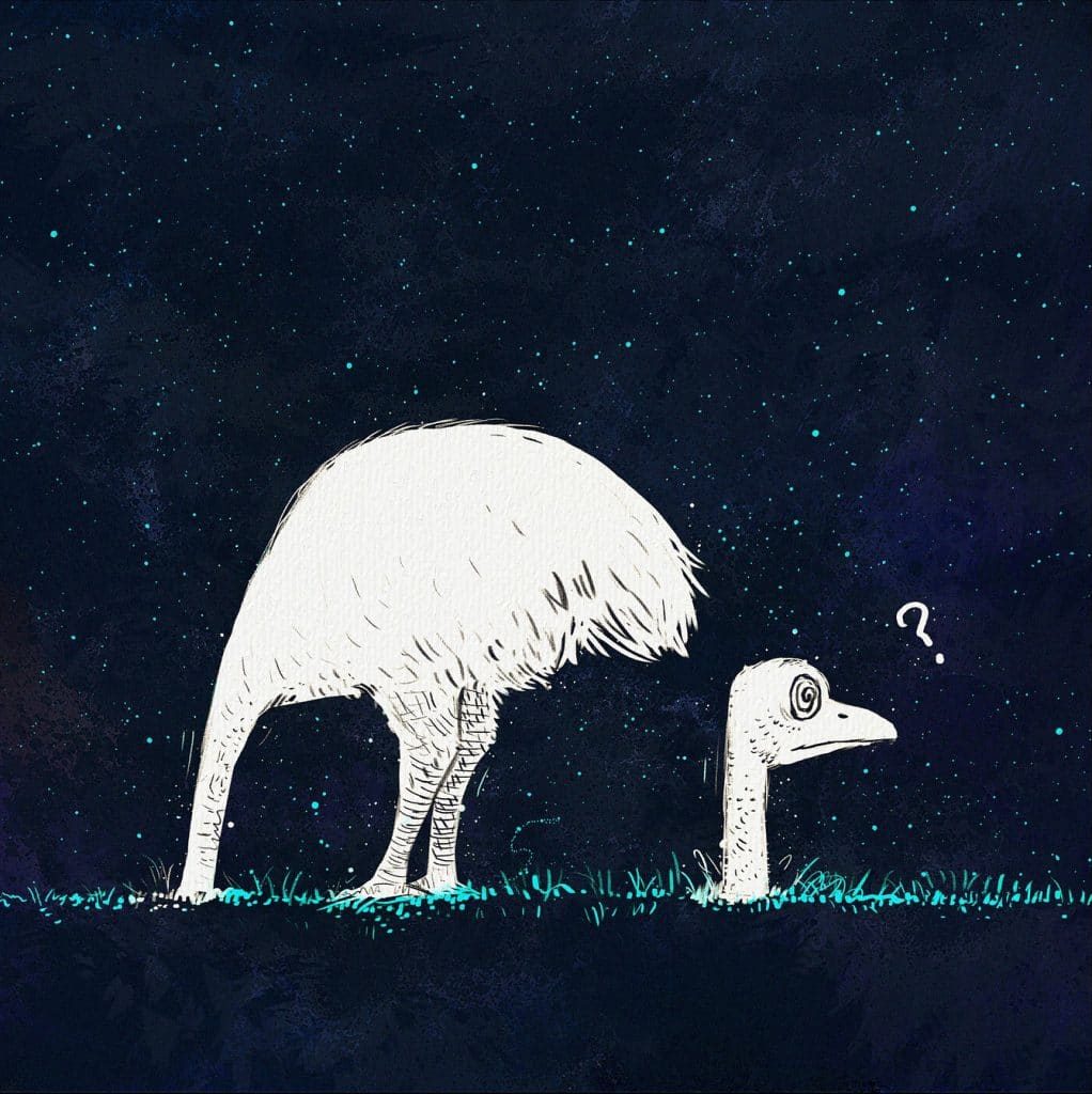 ostrich with head in sand cartoon