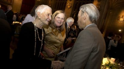 From left, Sissy Farenthold, Patricia Dougherty and Tim Rieser at the Bulletin's 2019 Annual Event in Chicago. Photo by Ana Miyares.