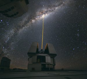 Very Large Telescope. In mid-August 2010, European Southern Observatory Photo Ambassador Yuri Beletsky snapped this photo at the European Southern Observatory's Paranal Observatory, Chile. A group of astronomers were observing the centre of the Milky Way using the laser guide star facility at Yepun, one of the four Unit Telescopes of the Very Large Telescope. Accessed via Wikimedia Commons. Credit: European Southern Observatory. CC BY 4.0.