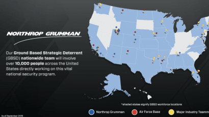 A Northrop Grumman Facebook post from September 2019 about its program to produce the United States' new intercontinental ballistic missile, known as the Ground Based Strategic Deterrent.