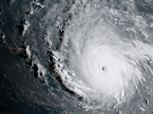 seen from above from the eye of the hurricane