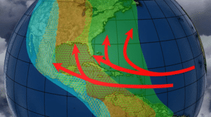 migratory routes of birds and traces of hurricanes