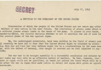 Manhattan Project scientist Leo Szilard writes a petition to U.S. President Harry S. Truman