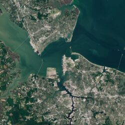 Hampton Roads. (Photo by Copernicus Sentinel-2, ESA.)