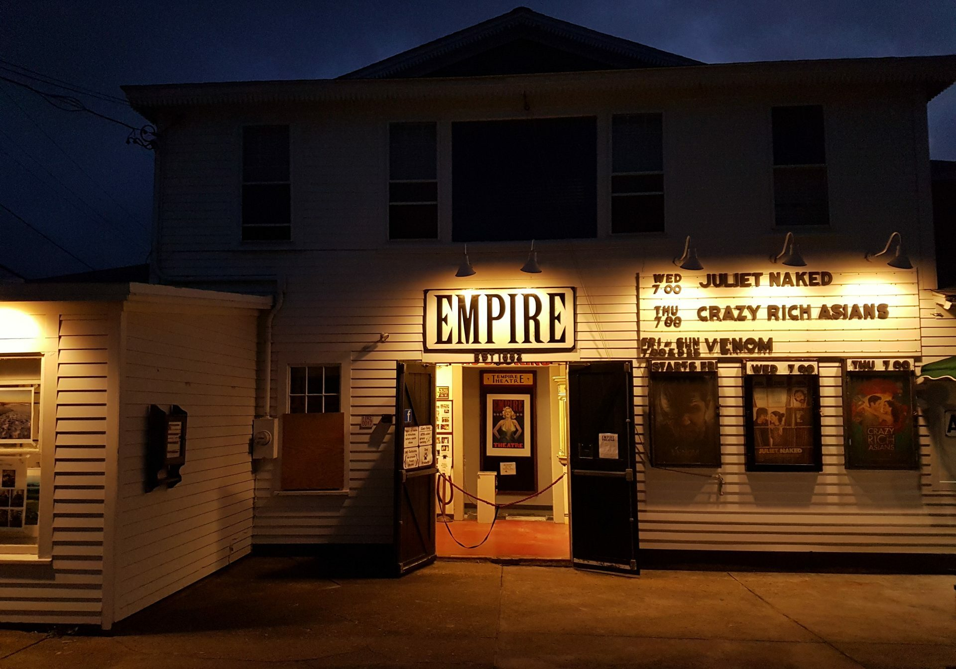 The local movie theater on Block Island. When it was being renovated in the late 1980s, old posters for silent movies and traveling stage shows were found—including one, The Pink Lady, that debuted while the Titanic was still being built. Photos courtesy of Dan Drollette Jr.