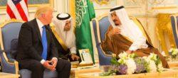 President Donald Trump and King Salman bin Abdulaziz Al Saud of Saudi Arabia talk together during ceremonies, Saturday, May 20, 2017, at the Royal Court Palace in Riyadh, Saudi Arabia. (Official White House Photo Shealah Craighead)