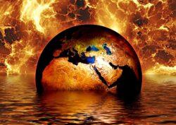 Earth globe water fire
