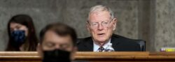 Sen. Jim Inhofe, a Republican from Oklahoma and ranking member of the Senate Armed Services Committee, speaks during a hearing in March on the Defense Authorization Request for fiscal year 2022 and the Future Years Defense Program. Photographer: Andrew Harnik/AP/Bloomberg via Getty Images